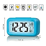 ZHPUAT Large-Display Digital Alarm Clock with Optional Backlight, Gentle Progressive Wakeup Alarm, Month, Date, and Temperature Display (Blue)