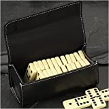 Travel Domino Game Set in Black Leather Case