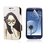 Flip PU Leather Case Cover For Samsung Galaxy S3 Mini i8190 + Protector PC444