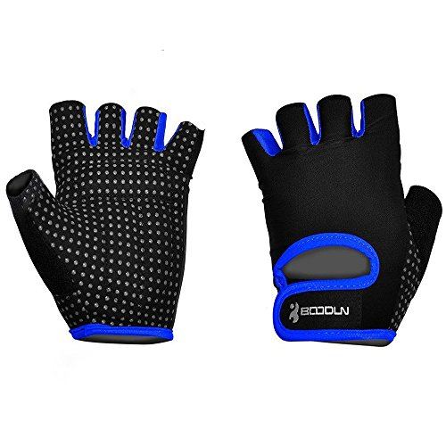 Ezyoutdoor 1 Pair Breathable Bike Half Finger Cycling Gloves Short Mesh Bicycle Biking Riding Fitness Exercise Gym Training Gloves (Blue, Large) (Chopper Gloves Children compare prices)