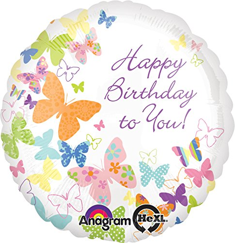 "Anagram International Birthday Butterflies Balloon, 18"", Multicolor"