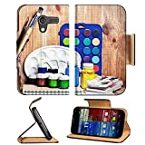 Motorola X 1st Generation Flip Case Paintbrushes watercolor gouache and paper are on wooden shelf IMAGE 19507948 by MSD Customized Premium Deluxe Pu Leather generation Accessories HD Wifi Luxury Prote