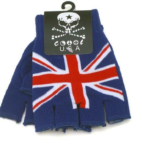 Uk British Flag Design Knitted Fingerless Gloves