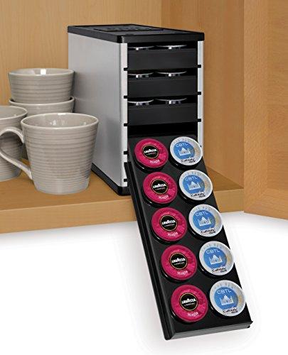 YouCopia PodStack Single Serve Coffee Pod Organizer - Verismo pods, Lavazza Rivo packs and CBTL capsules, Amazon Exclusive (Verismo Pod Storage compare prices)