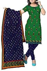 Shreya Fashion Women's Cotton Satin Unstitched Dress Material (VE002_Green_Free size)