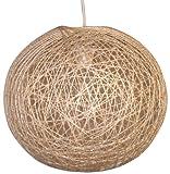Boudet C. Création - Lampadario da sospensione in sisal naturale, sferico, modello piccolo contemporaneo neutro