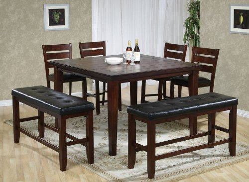 7pc Counter Height Dining Table, Stools & Benches Set Rustic Oak Finish