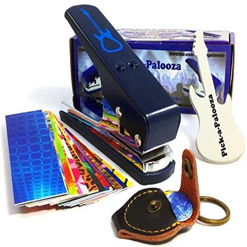Pick-a-Palooza DIY Guitar Pick Punch Mega Gift Pack - the Premium Pick Maker - Leather Key Chain Pick Holder, 15 Pick Strips and a Guitar File - Blue (Pictures Of Cool Thin compare prices)