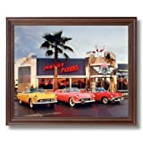 Ford Thunderbird Cars Maxcy Flyers Cafe Automobile Wall Picture Cherry Framed Art Print