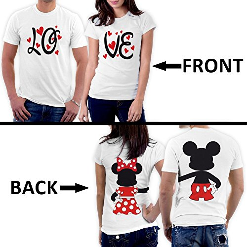 [PicOnTshirt Mickey Minnie Two Sided Matching Couple Shirts Men XL / Women M Design 166] (Family Disney Shirts)