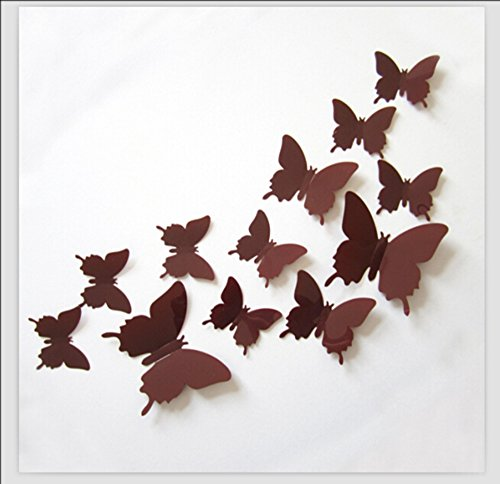 Romantiko 12 Pcs Fashion 3D Butterfly Wall Stickers Art Decor Decal For Home Wedding Party Coffee (Blue And Brown Wall Decals compare prices)