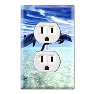 dolphin decorative duplex outlet wall plate cover. Black Bedroom Furniture Sets. Home Design Ideas