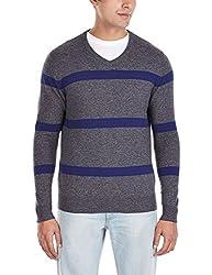 Flying Machine Men's V-Neck Wool Blend Sweater (FMSW0208_Anthra_XL)