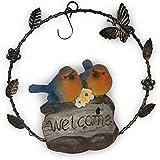 2 Birds Welcome Statue Plaque Decor Hanging Iron Front Door Sign,Lights & Sounds
