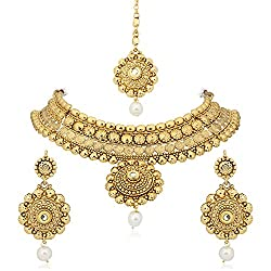 Meenaz Traditional Necklace Sets Jewellery Sets Gold Plated With Earrings For Women,Girls NL128