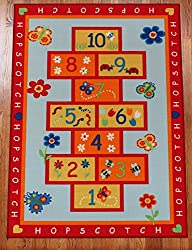 Kids HOPSCOTCH Play Area Rug ACTIVITY RUG 4 x6 Actual 3 .11 x5 .5 - Nice Size - Printed Area Rug with Non Skid Backing 47 Inches By 65 Inches