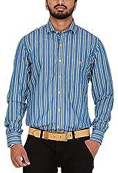 Botticelli Men's Blue Stripes Full Sleeve Shirt (3592-FULL-C-M_Blue_Medium)