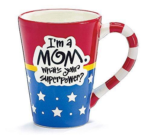 Burton and Burton I'm A Mom, What's Your Superpower Coffee Mug, 12oz, Red White Blue Stars