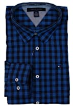 Tommy Hilfiger Mens Long Sleeve Custom Fit Button Front Shirt - M - Blue Plaid