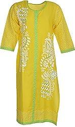 Artisan Women's Cotton Straight Kurta (CZF10013_XL, Yellow, XL)