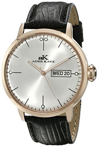 Adee Kaye Men's Vintage 44.86mm Black Calfskin Band Steel Case Quartz Silver-Tone Dial Watch AK2226-MRG-SV