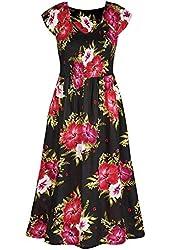 Women's Floral Posey Black Cap Sleeve Dress