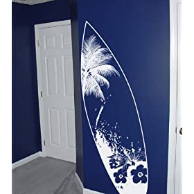 Vinyl Wall Art Decal Sticker Beach Paradise Surfboard 6ft Tall