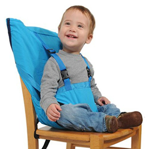 Portable Baby Kid Toddler Child Infant Newborn Travel Feeding High Chair Booster Seat Highchair Cover Cushion Sack Sacking Safety Harness Belt Strap Bag (Light Blue)