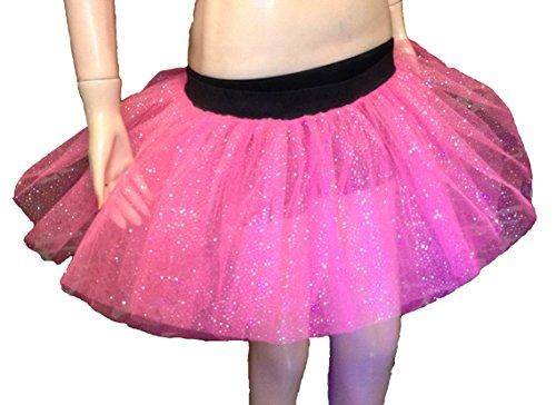 Uv Neon Pink Dot Glitter Tutu Skirt Party Mini Emo Dance Rave Hen Halloween Clubwear Christmas