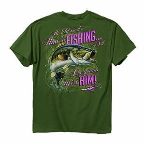 Buck Wear Women's Him or Fishing Short Sleeve Tee, Moss, X-Large