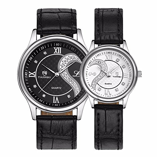 Tiannbu Brand Fq-102 Ultrathin Leather Romantic Love Heart Design Pair Couple Wrist Watches Black+White