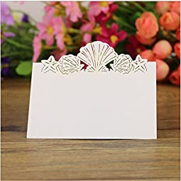 Krismile® 48 Pack Beach Themed Wedding Place Card Laser Cut Sea Shell Seashells Wedding Table Numbers Name PlaceCard, Laser Cut Summer Beach Themed Wedding Table Place Name Cards Wedding Table Seating Numbers Festive