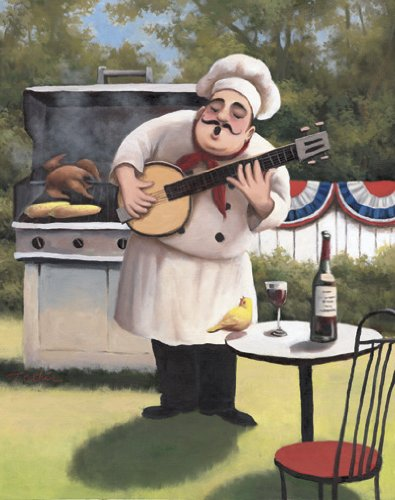 4 New Happy Fat Chef Prints Kitchen Decor Wall Art
