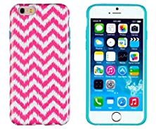 "buy Iphone 6 Case, Dandycase Perfect Pattern *No Chip/No Peel* Flexible Slim Case Cover For Apple Iphone 6 (4.7"" Screen) - Lifetime Warranty [Neon Pink & White Chevron]"