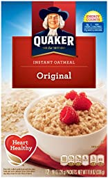 Quaker Instant Oatmeal Original, 12-Count, net weight 11.8 ounces Boxes (Pack of 4)