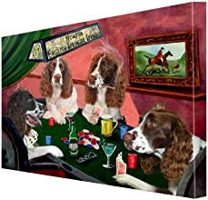 House of English Springer Spaniels Dogs Playing Poker Canvas 18 x 24