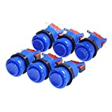 Winit 6 PCS Happ Arcade Push Button With Microswitches- Blue