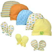 Gerber Unisex-Baby Newborn Frogs And Ducks Cap And Mitten Bundle, Yellow, 0-6 Months