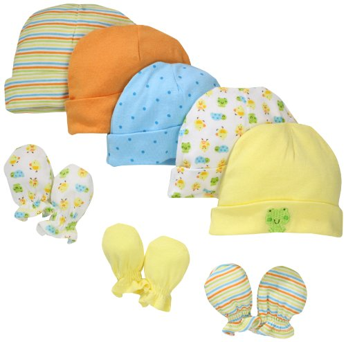 Gerber Unisex-Baby Newborn Frogs And Ducks Cap And Mitten Bundle, Yellow, 0-6 Months
