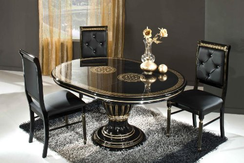 Rosella Black - Round Extend-able Dining Table Made in Italy