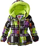 Big Chill Toddler Girls 2-6X Black Plaid Puffer Winter Jacket/Coat