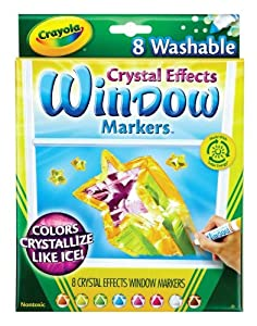 Crayola Washable Window Markers with Crystal Effects - Set of 8 - Assorted Colors