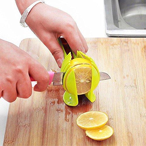 Demiawaking トマトスライサー果物カッター トマト レモン カット  スライサー 把手付き  緑