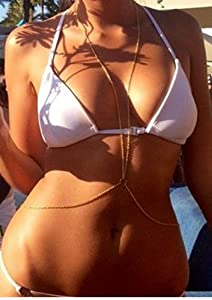 Body Jewelry Bikini Crossover Sexy Slave Harness Body Chain Necklace (Gold Tone Circle)