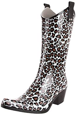 Nomad Women's Yippy Rain Boot,Brown/White Leopard Heart,6 M US