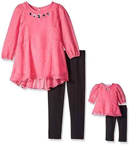 Dollie & Me Little Girls' Chiffon Holofoil Shine Woven Dress with Knit Legging, Pink/Black, 5