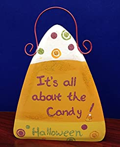 "8"" metal candy corn sign (IT'S ALL ABOUT THE CANDY)"