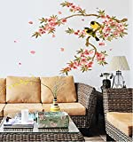 UberLyfe Black and Yellow Birds on Flowering Branch Wall Sticker (Wall Covering Area: 63cm x 108cm)