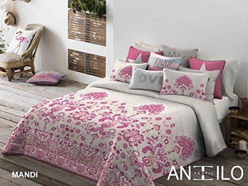 Textilhome - Colcha Bouti MANDI - Cama 105 cm. Color Unico