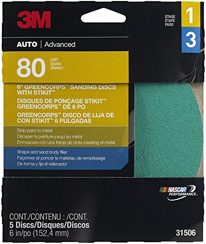"""3M 31506 Stikit Green Corps 6"""" 80D Grit Disc front-354251"""